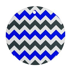 Grey And Blue Chevron Round Ornament (two Sides)  by AnjaniArt