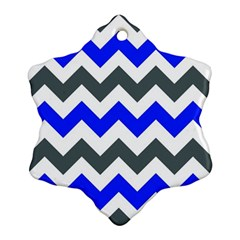 Grey And Blue Chevron Ornament (snowflake)  by AnjaniArt