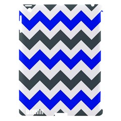 Grey And Blue Chevron Apple Ipad 3/4 Hardshell Case (compatible With Smart Cover)