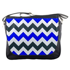Grey And Blue Chevron Messenger Bags by AnjaniArt