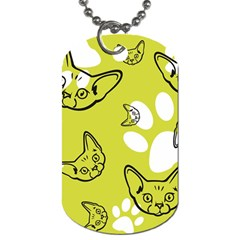Face Cat Green Dog Tag (two Sides) by AnjaniArt