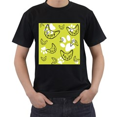 Face Cat Green Men s T Shirt (black) (two Sided)