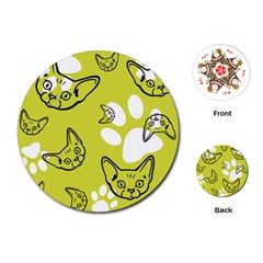 Face Cat Green Playing Cards (round)
