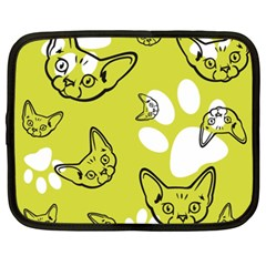 Face Cat Green Netbook Case (xxl)  by AnjaniArt