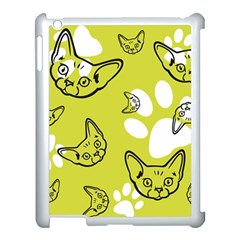 Face Cat Green Apple Ipad 3/4 Case (white) by AnjaniArt