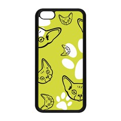Face Cat Green Apple Iphone 5c Seamless Case (black) by AnjaniArt