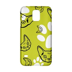 Face Cat Green Samsung Galaxy S5 Hardshell Case  by AnjaniArt