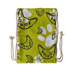 Face Cat Green Drawstring Bag (small) by AnjaniArt