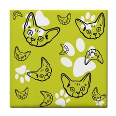 Face Cat Green Tile Coasters by AnjaniArt