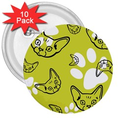 Face Cat Green 3  Buttons (10 Pack)  by AnjaniArt
