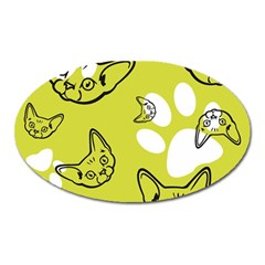 Face Cat Green Oval Magnet by AnjaniArt