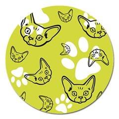 Face Cat Green Magnet 5  (round)
