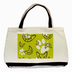 Face Cat Green Basic Tote Bag (two Sides)