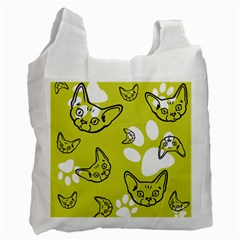 Face Cat Green Recycle Bag (one Side) by AnjaniArt