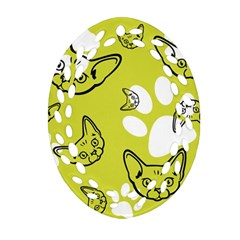 Face Cat Green Oval Filigree Ornament (2 Side)