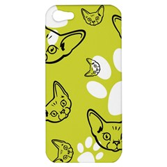 Face Cat Green Apple Iphone 5 Hardshell Case