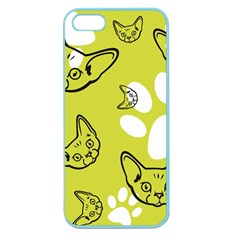 Face Cat Green Apple Seamless Iphone 5 Case (color) by AnjaniArt