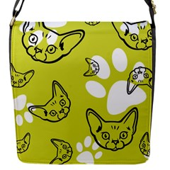 Face Cat Green Flap Messenger Bag (s) by AnjaniArt