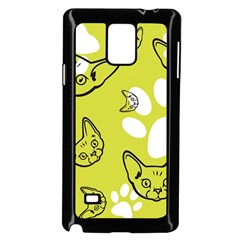 Face Cat Green Samsung Galaxy Note 4 Case (black)