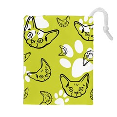 Face Cat Green Drawstring Pouches (extra Large)