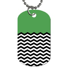 Lime Green Chevron Dog Tag (two Sides) by AnjaniArt