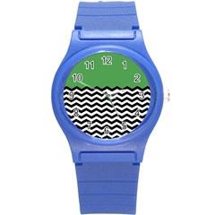 Lime Green Chevron Round Plastic Sport Watch (s) by AnjaniArt