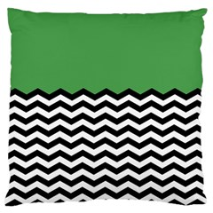 Lime Green Chevron Large Flano Cushion Case (two Sides) by AnjaniArt