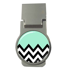 Mint Green Chevron Money Clips (round)