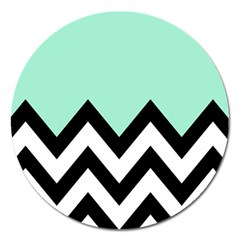 Mint Green Chevron Magnet 5  (round) by AnjaniArt