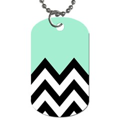 Mint Green Chevron Dog Tag (two Sides) by AnjaniArt