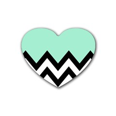 Mint Green Chevron Heart Coaster (4 Pack)  by AnjaniArt