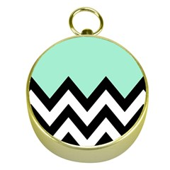 Mint Green Chevron Gold Compasses by AnjaniArt