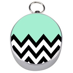 Mint Green Chevron Silver Compasses by AnjaniArt