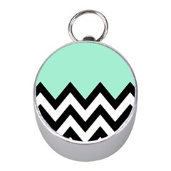 Mint Green Chevron Mini Silver Compasses by AnjaniArt