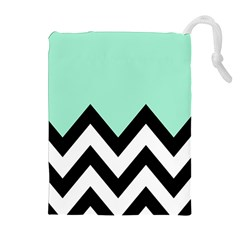 Mint Green Chevron Drawstring Pouches (extra Large) by AnjaniArt