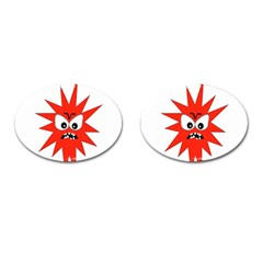 Monster Angry Cufflinks (oval) by AnjaniArt