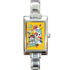 Monster Animals Rectangle Italian Charm Watch by AnjaniArt