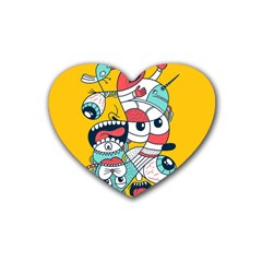 Monster Animals Rubber Coaster (heart)