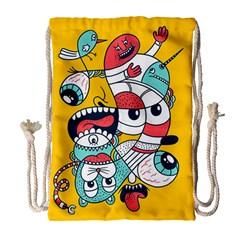Monster Animals Drawstring Bag (large) by AnjaniArt