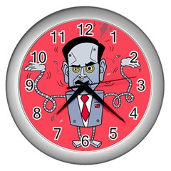 Monster Rubiobot Wall Clocks (silver)  by AnjaniArt