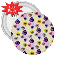 Monster Eye Flower 3  Buttons (100 Pack)