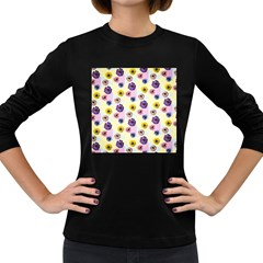 Monster Eye Flower Women s Long Sleeve Dark T Shirts
