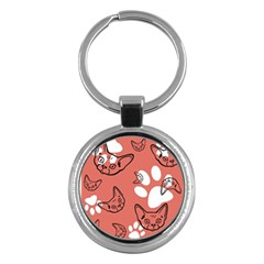 Face Cat Pink Cute Key Chains (round)