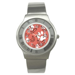 Face Cat Pink Cute Stainless Steel Watch