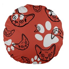 Face Cat Pink Cute Large 18  Premium Round Cushions