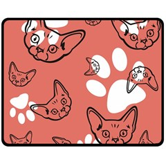 Face Cat Pink Cute Double Sided Fleece Blanket (medium)  by AnjaniArt