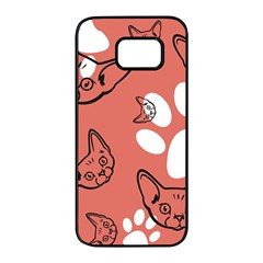 Face Cat Pink Cute Samsung Galaxy S7 Edge Black Seamless Case by AnjaniArt