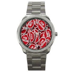 Road Sign Wrong Way Sport Metal Watch by AnjaniArt