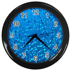 Shattered Blue Glass Wall Clocks (black) by AnjaniArt