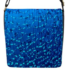 Shattered Blue Glass Flap Messenger Bag (s) by AnjaniArt